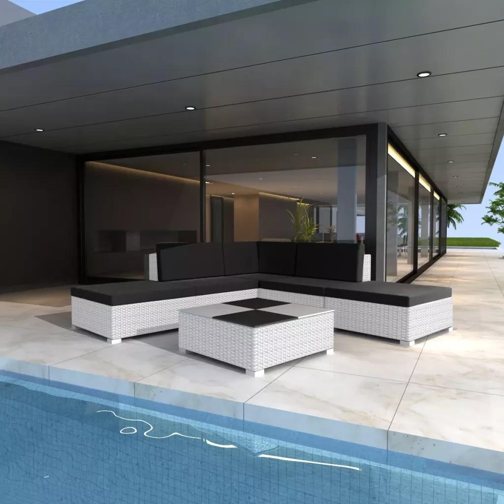 vidaXL Mobilier de jardin 6 pcs avec coussins Résine tressée Blanc V3