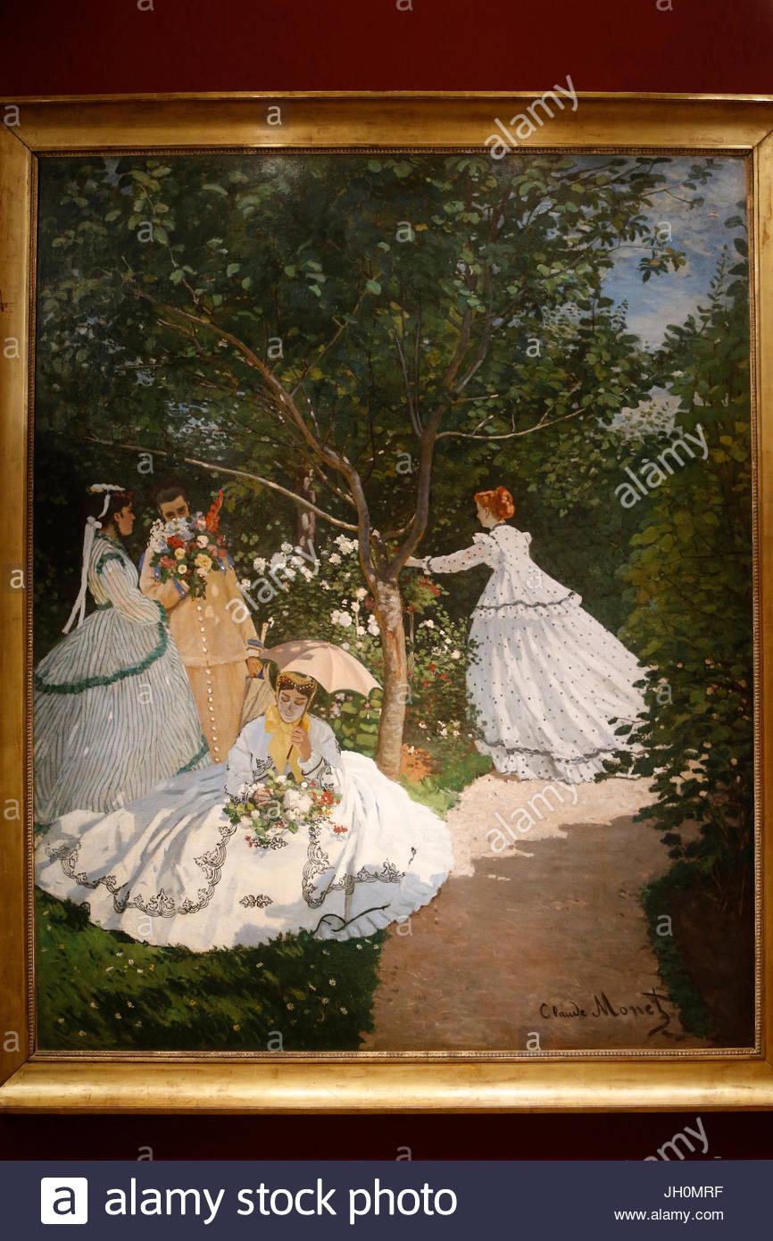 orsay museum claude monet women in a garden oil on canvas c 1866 paris JH0MRF
