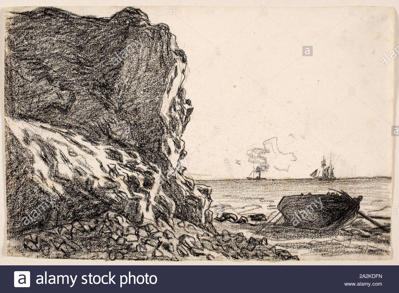 cliffs and sea sainte adresse c 1864 claude monet french 1840 1926 france black chalk on ivory laid paper 206 314 mm 2A2KDFN