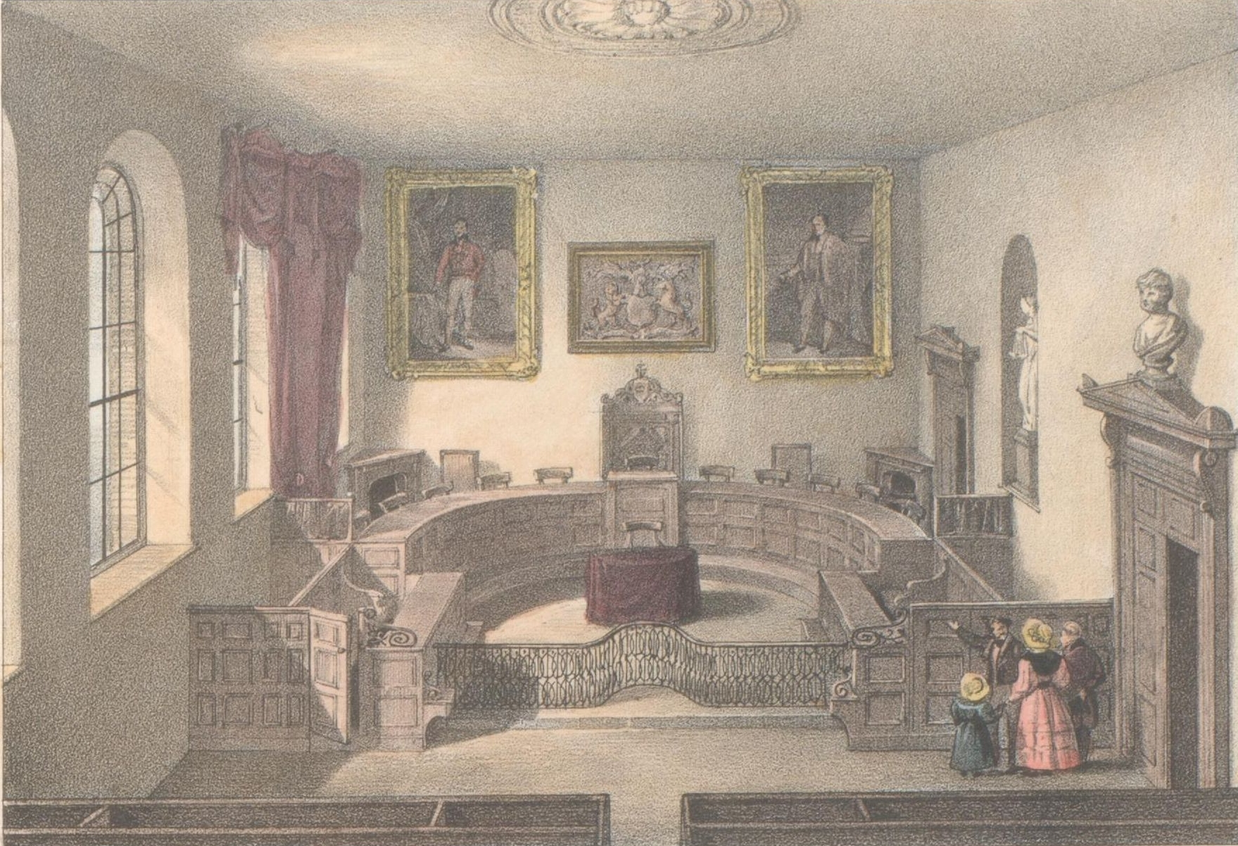 Interior of Royal Court drawn by De Garis Pubd by M Moss Priaulx Library Collection