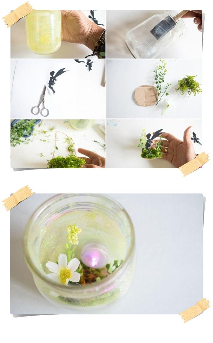 idee deco jardin a faire soi meme silhouette de f C3 A9e en papier bocal en verre bougie sans flamme paillettes fines jaunes