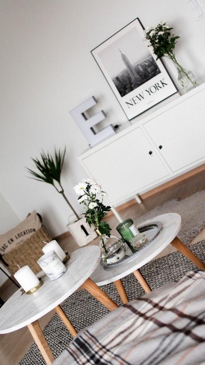 petite table ronde basse association bois claire marbre blanc