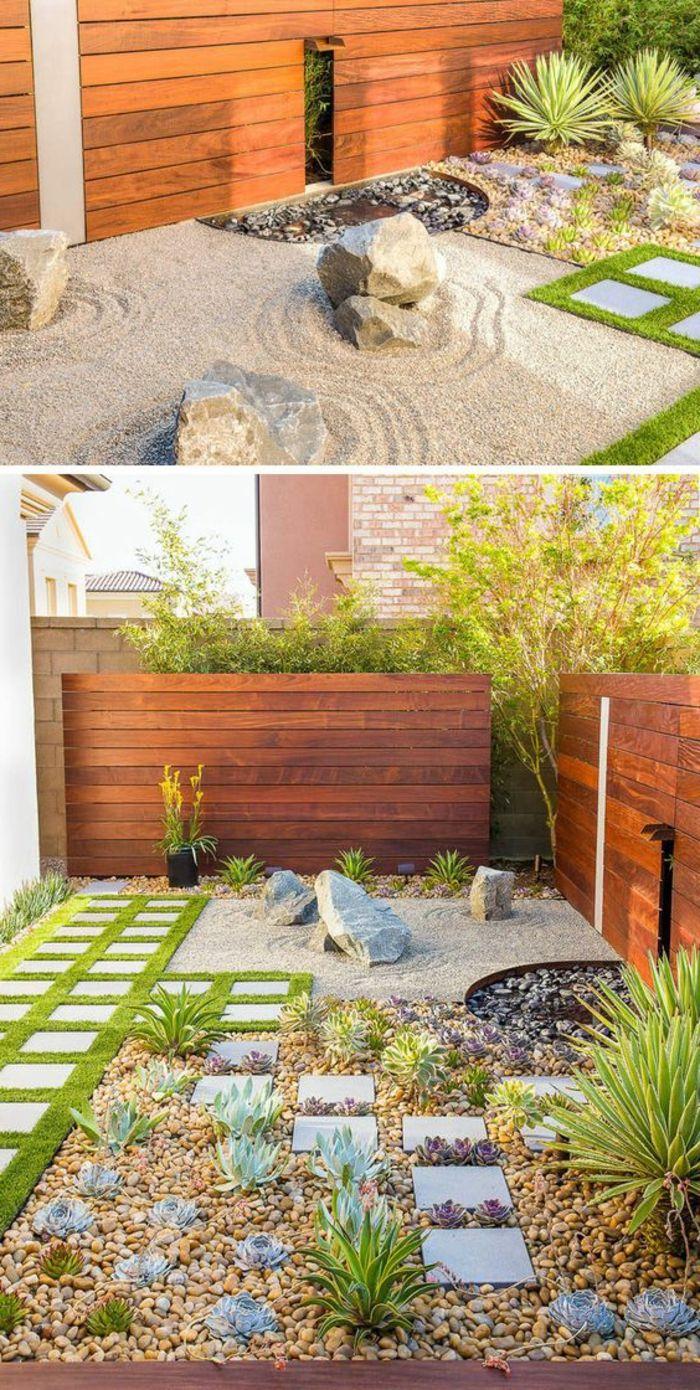 d C3 A9co de jardin zen ment am C3 A9nager la cour avec galets plantes vertes et pierres