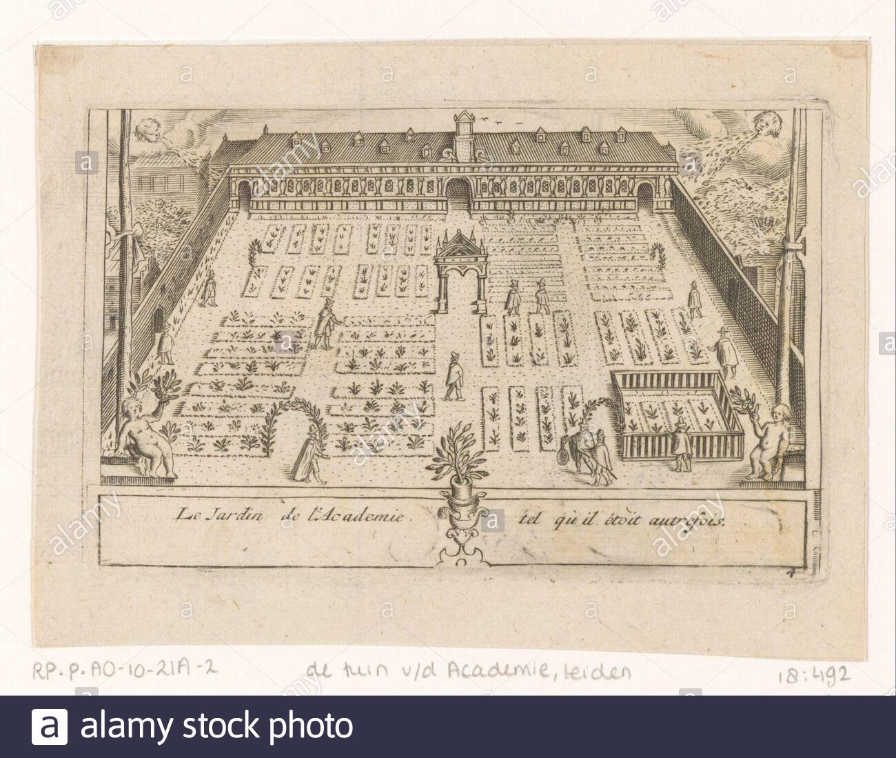 view of the hortus botanicus in leiden located behind the academy building as it looked somewhere after the old tower of the academy building was demolished for 1600 and before the new tower was built in 1670 bottom right numbered 4 manufacturer print maker anonymous publisher pieter van der aa i is possibly place manufacture leiden date 1712 material paper technique engra printing process measurements plate edge h 81 mm w 126 mmtoelichtingprent also used in les delices the leide celebres une des villes de leurope qui contiennent une description the exact son a 2B6PHHX