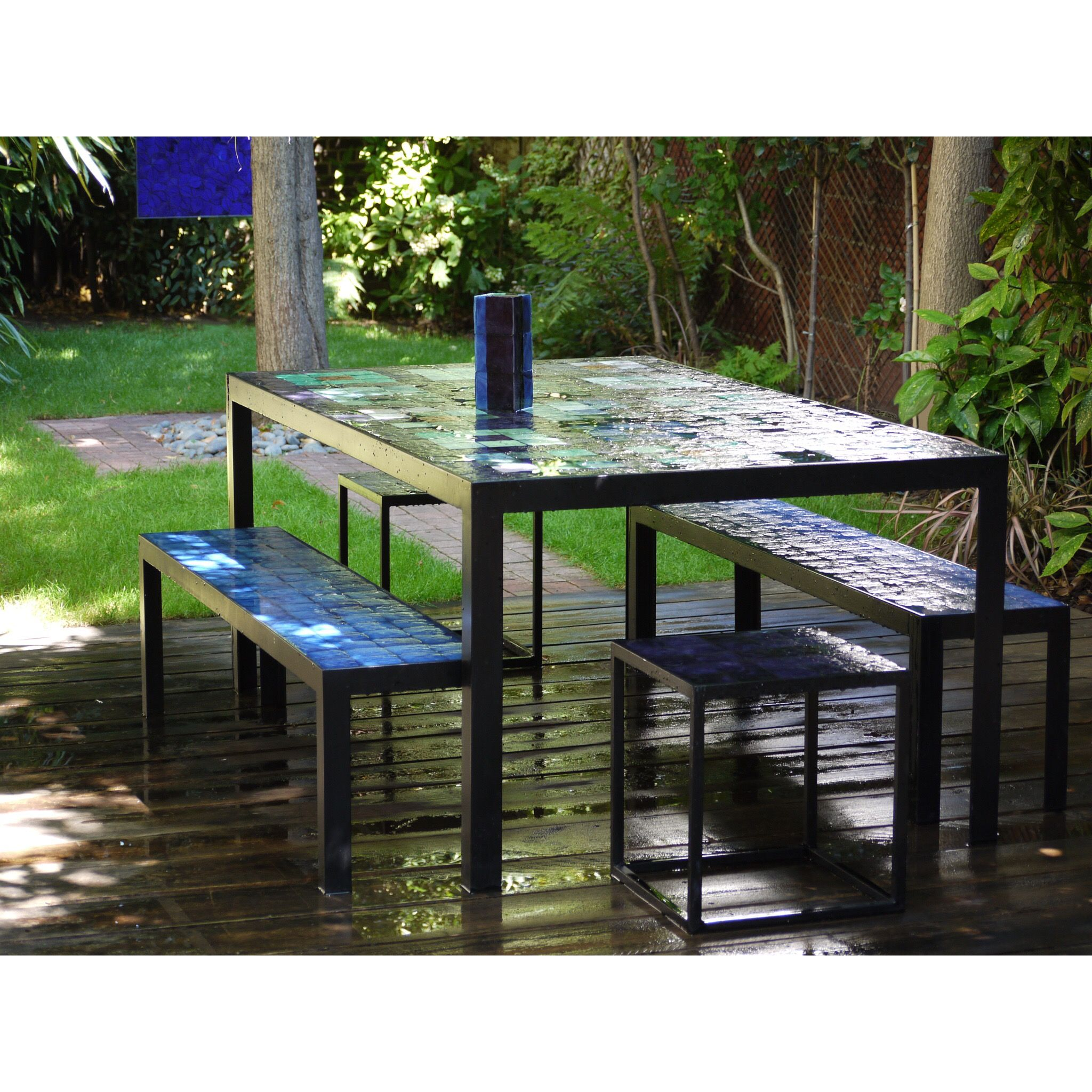 Art Et Jardin Unique Blue Patchwork Table In Situ Single Work Of Art Handmade Of 56 Luxe Art Et Jardin