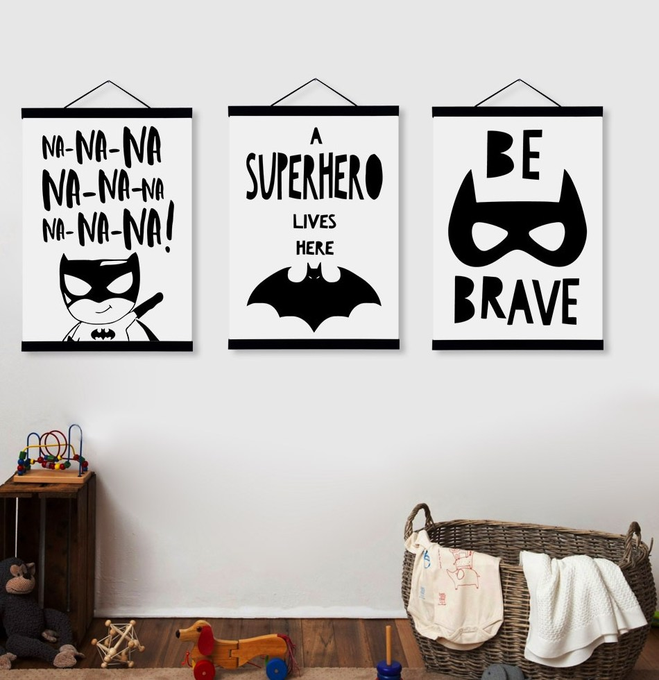 Kawaii Black and White Batman Posters Nordic Style Kids font b Room b font Decor Quotes