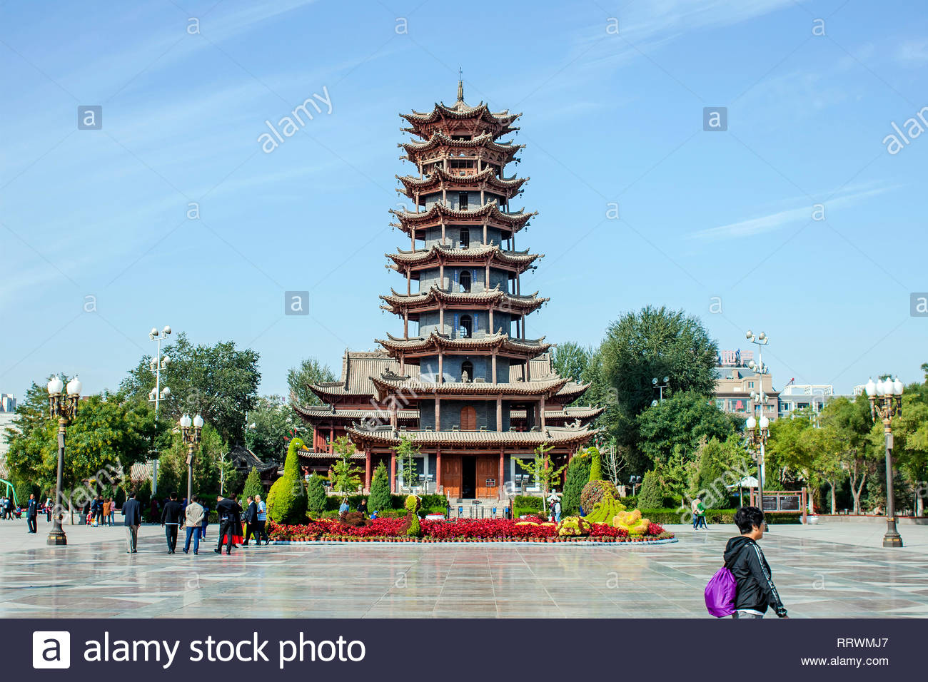 china zhangye september 16 2018 traditional chinese wooden and stone architecture of mu ta si pagoda and central square of the town manjuji RRWMJ7