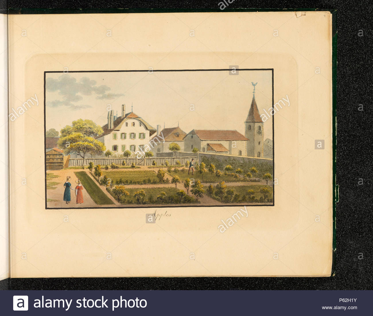 na apples cures du canton de vaud recto en bas gauche presque illisible s weibel 1829 en bas au milieu apples en haut droite au crayon 1 apples vue partielle cure glise jardin 1829th century weibel jakob samuel 290 ch nb apples collection gugelmann gs guge 201 5 P62H1Y