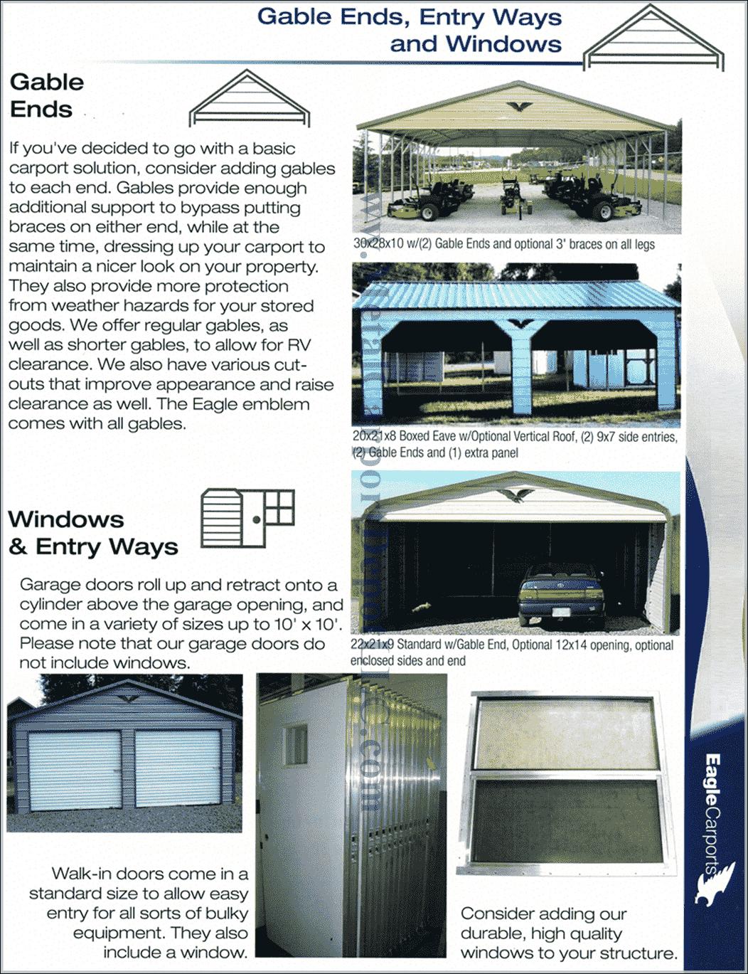 Metal Carport Gable End & Window Information1050 min