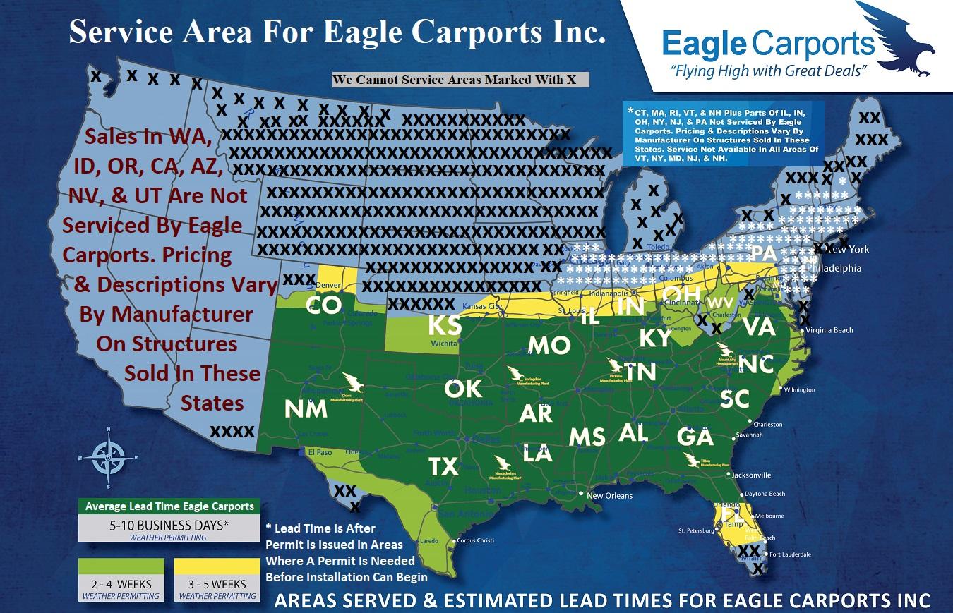 Lead Times Map Eagle Carports