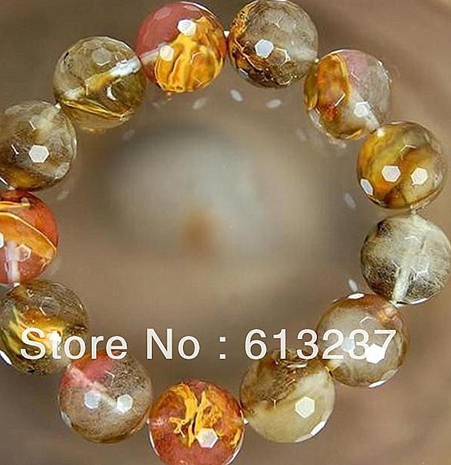Mode Pastèque Tourmaline pierre 10mm Facettes Rondes en vrac Perles diy jewlry Bracelet 7 5 GE722