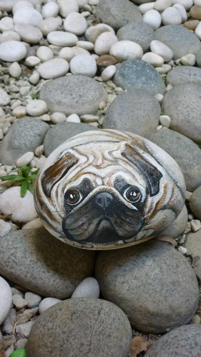 dessin sur galet cr C3 A9ations artistiques chien au regard touchant