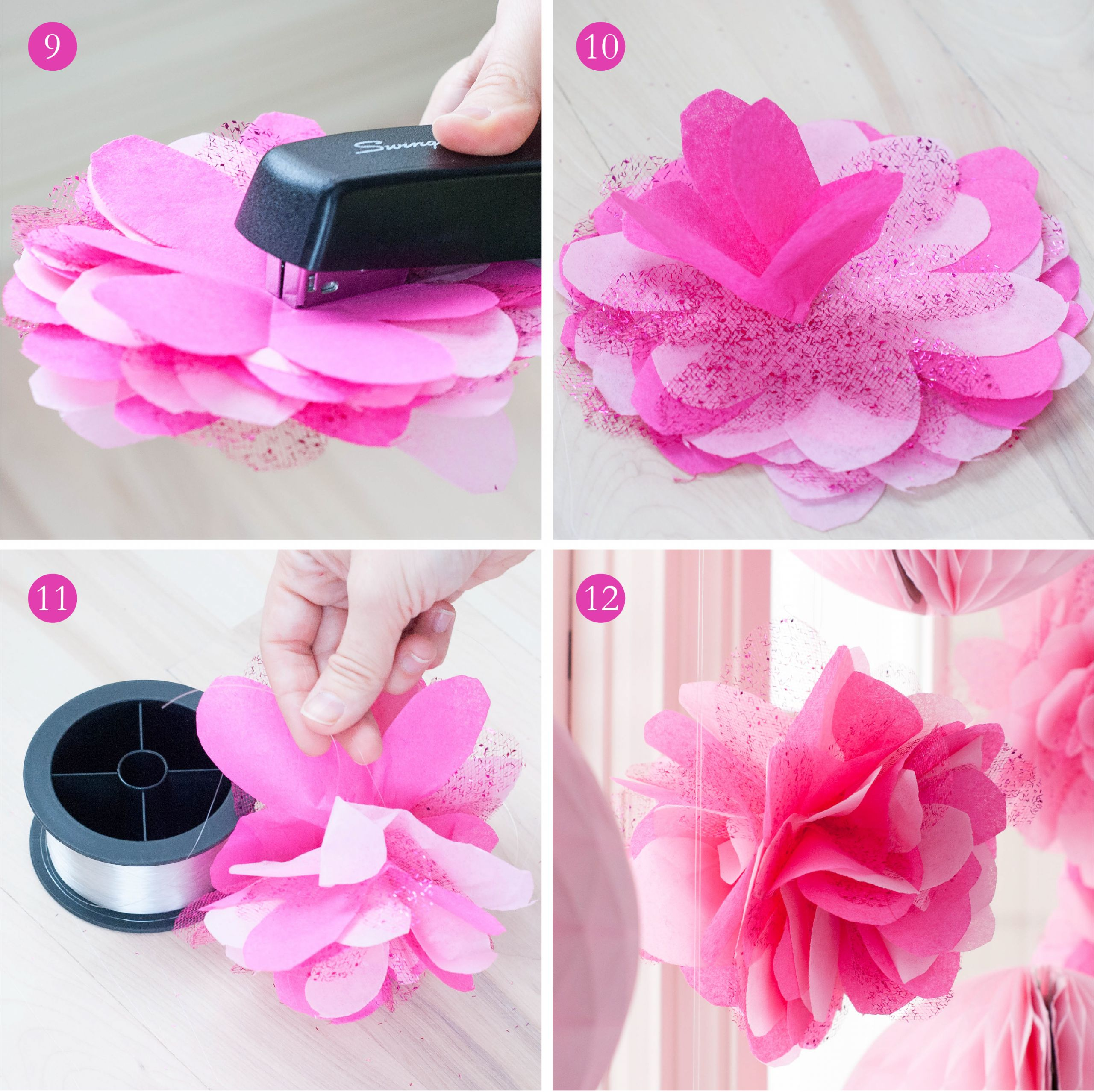 swan princess flower pom tutorial tissue paper tulle 03