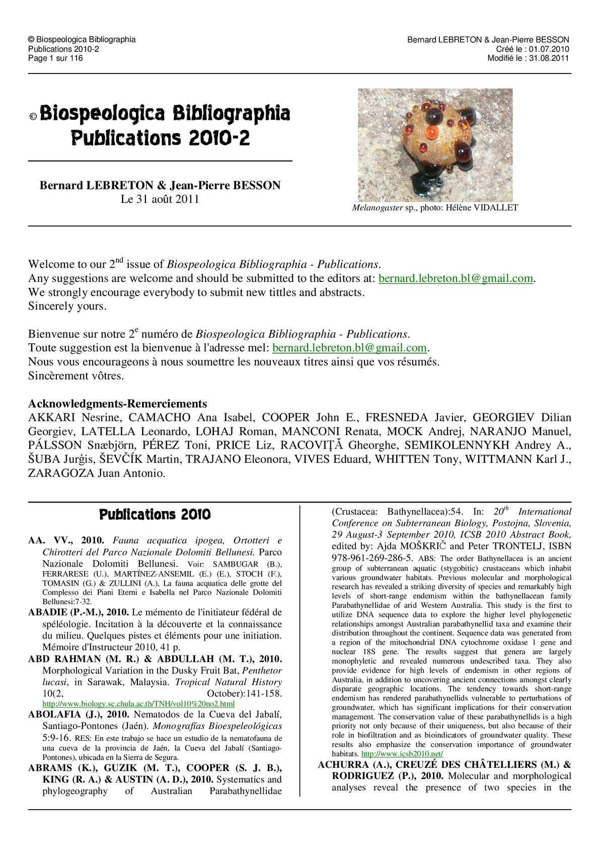 Entrée Jardin D Acclimatation Best Of Calaméo © Biospeologica Bibliographia Publications 2010 2 Of 80 Unique Entrée Jardin D Acclimatation