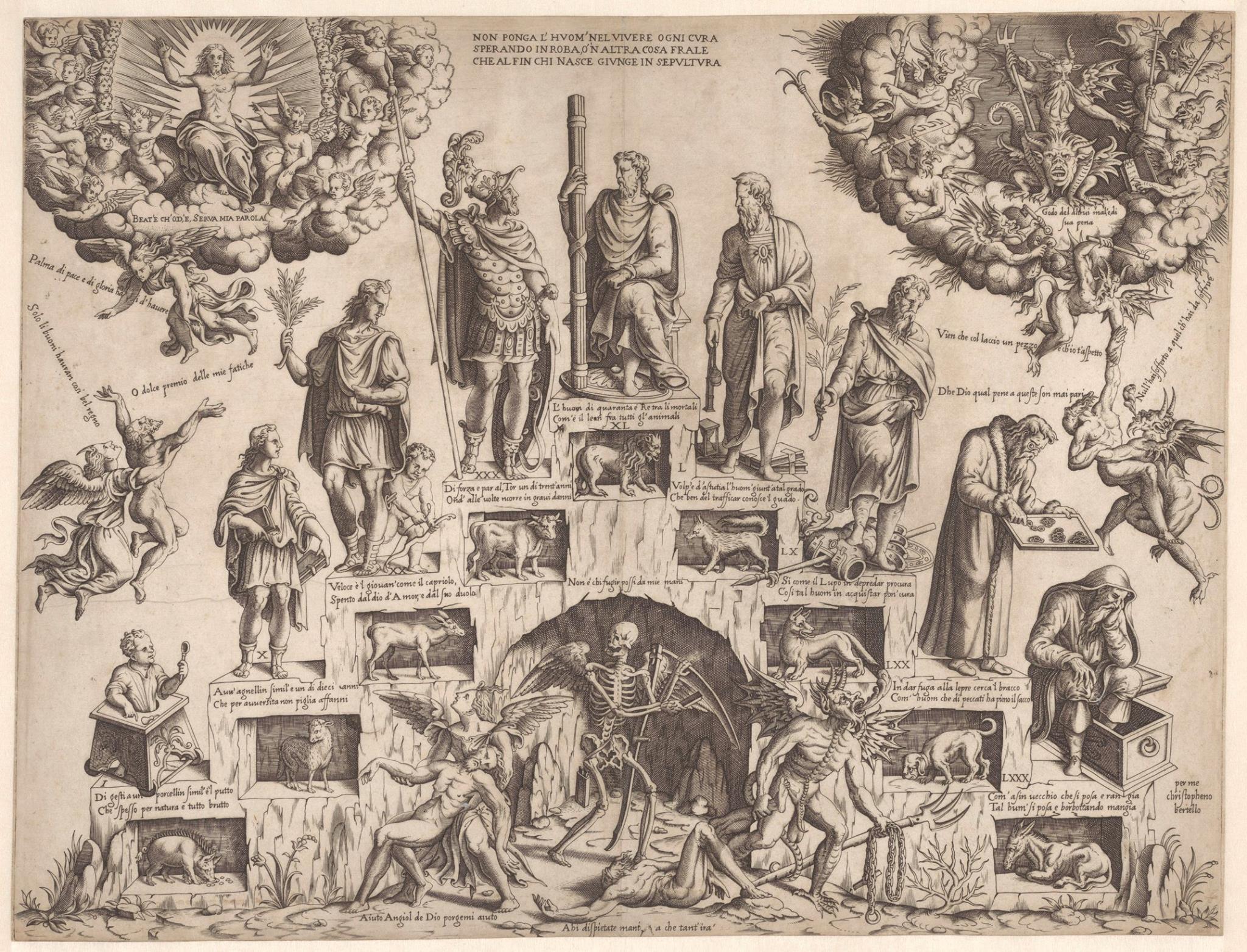 Cristofano Bertelli c 1560 Escalier de la vie masculine Rijksmuseum
