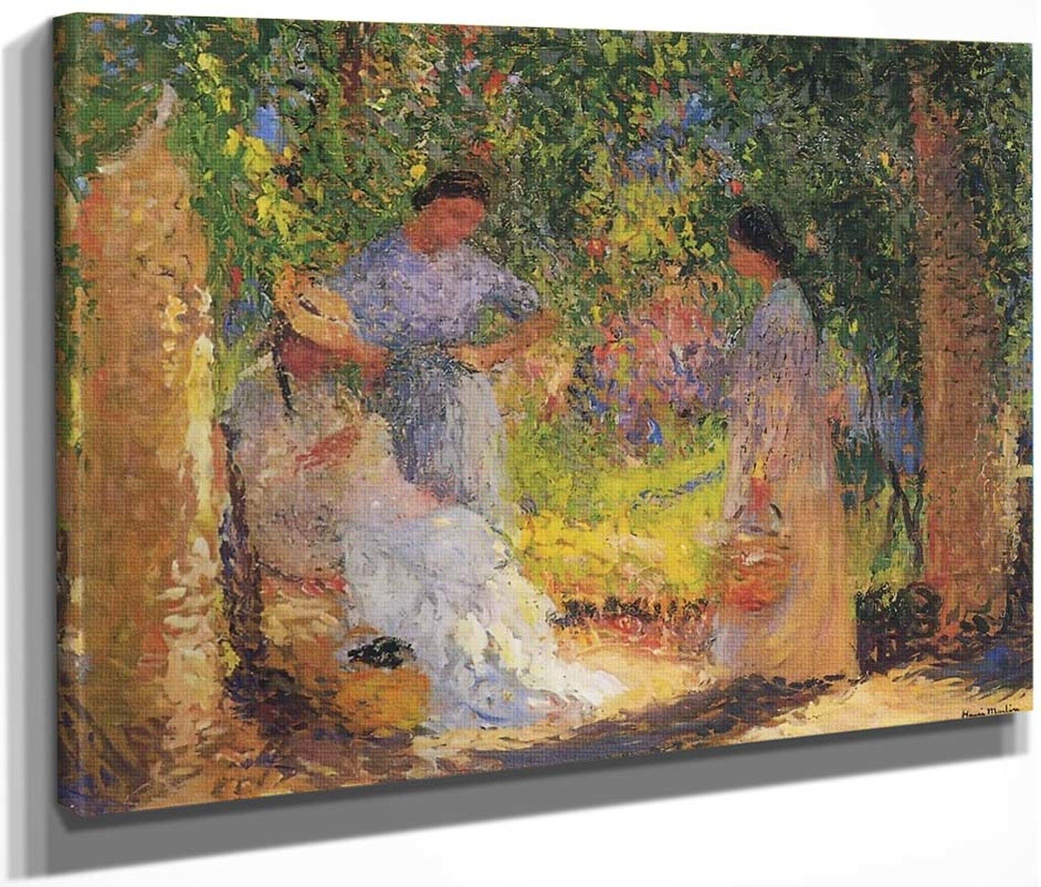 trois femmes dans un jardin henri martin henri martin