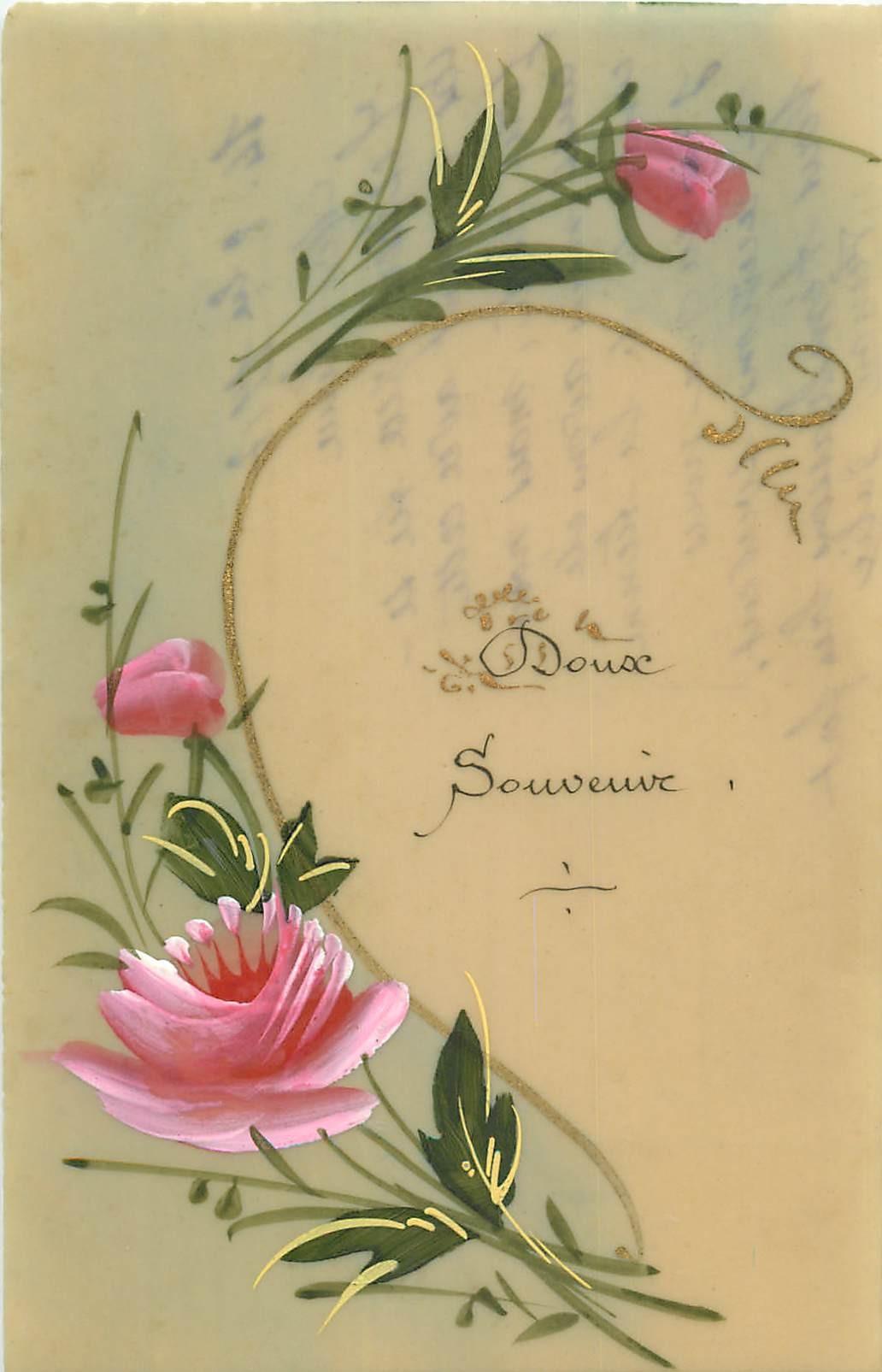 Fleurs Du Jardin Élégant Fleurs Doux souvenir Roses Peintes  La Main Sur Cellulo¯d 1917 Of 41 Beau Fleurs Du Jardin