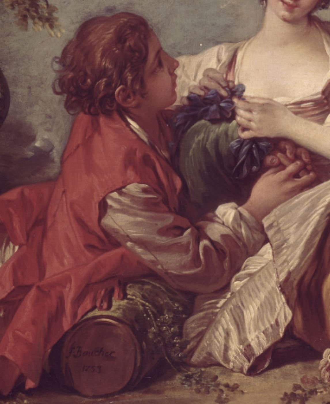 Boucher A1 1753 Sujet pastoral la musette ou La marotte Mobilier National detail