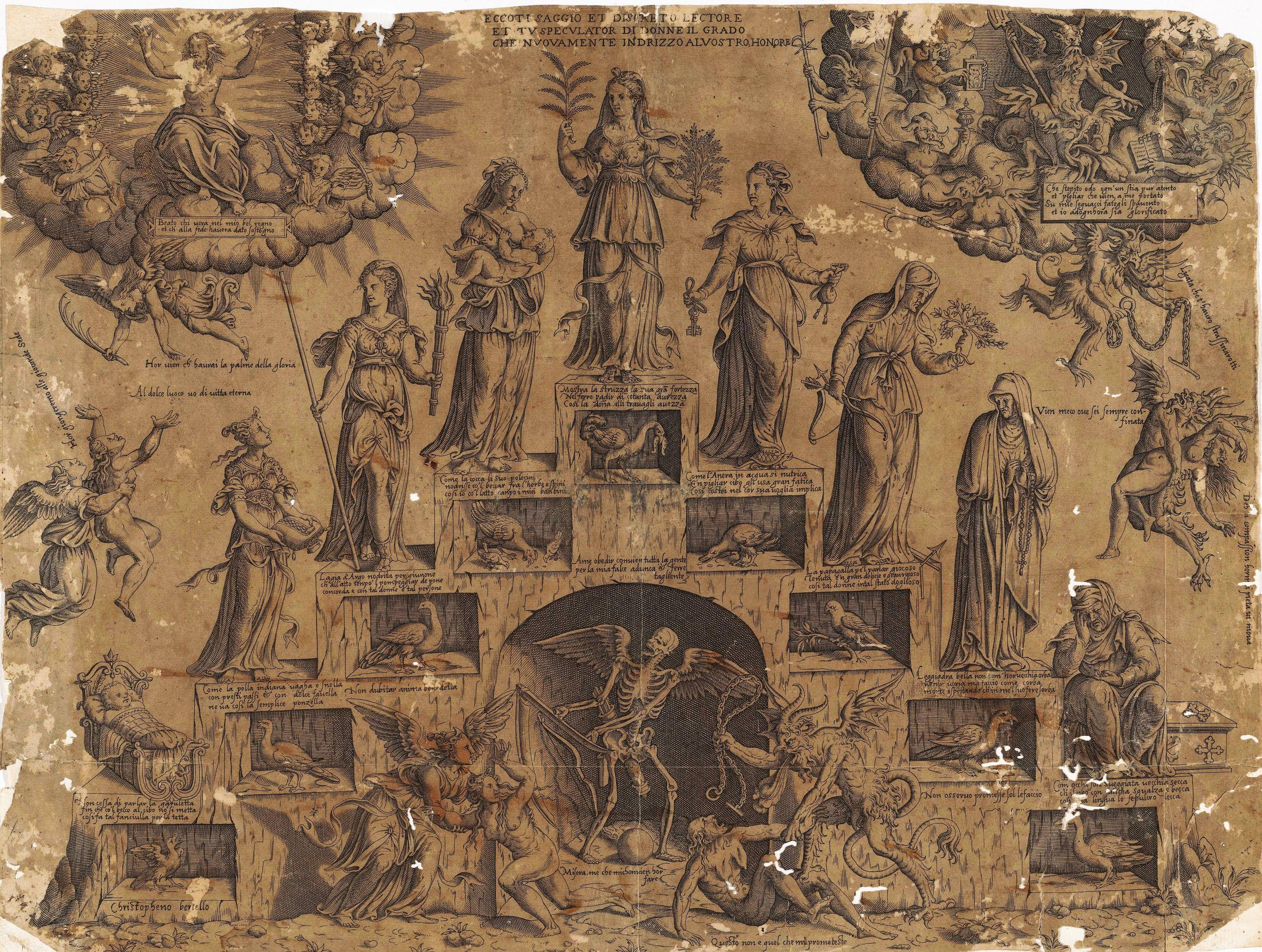 Cristofano Bertelli c 1560 Escalier de la vie feminine Rijksmuseum