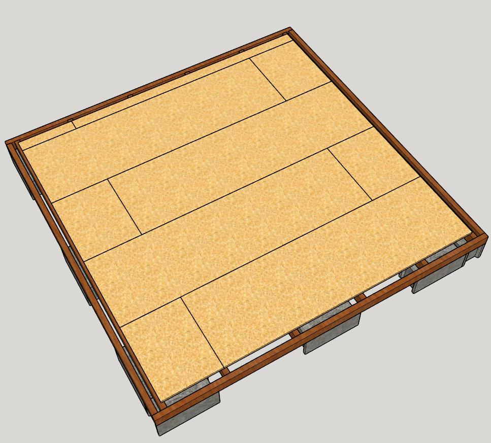 plancher bois abri jardin