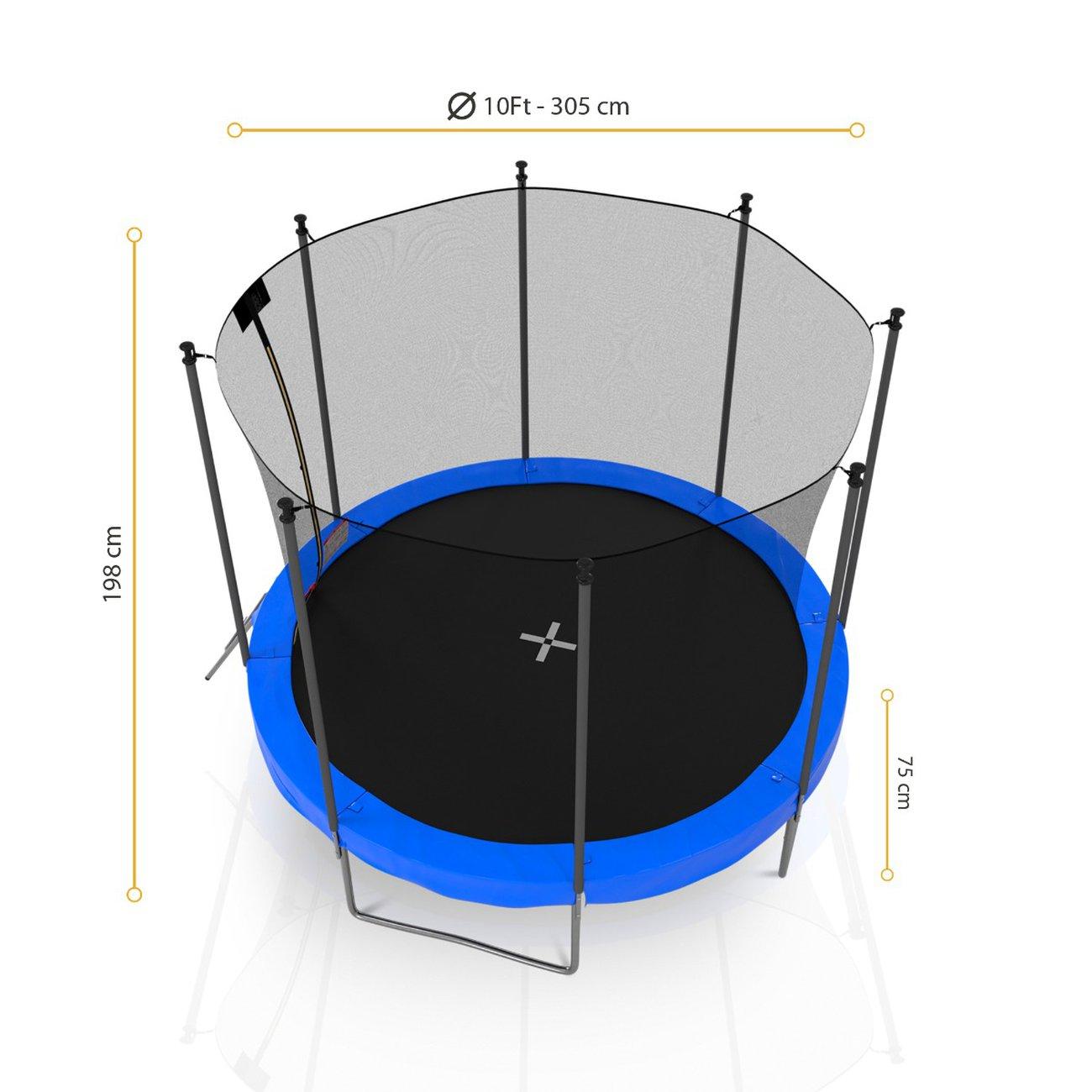 trampoline de jardin avec filet exterieur diametre 10 ft 305 cm 8 perches bleu 2 v5