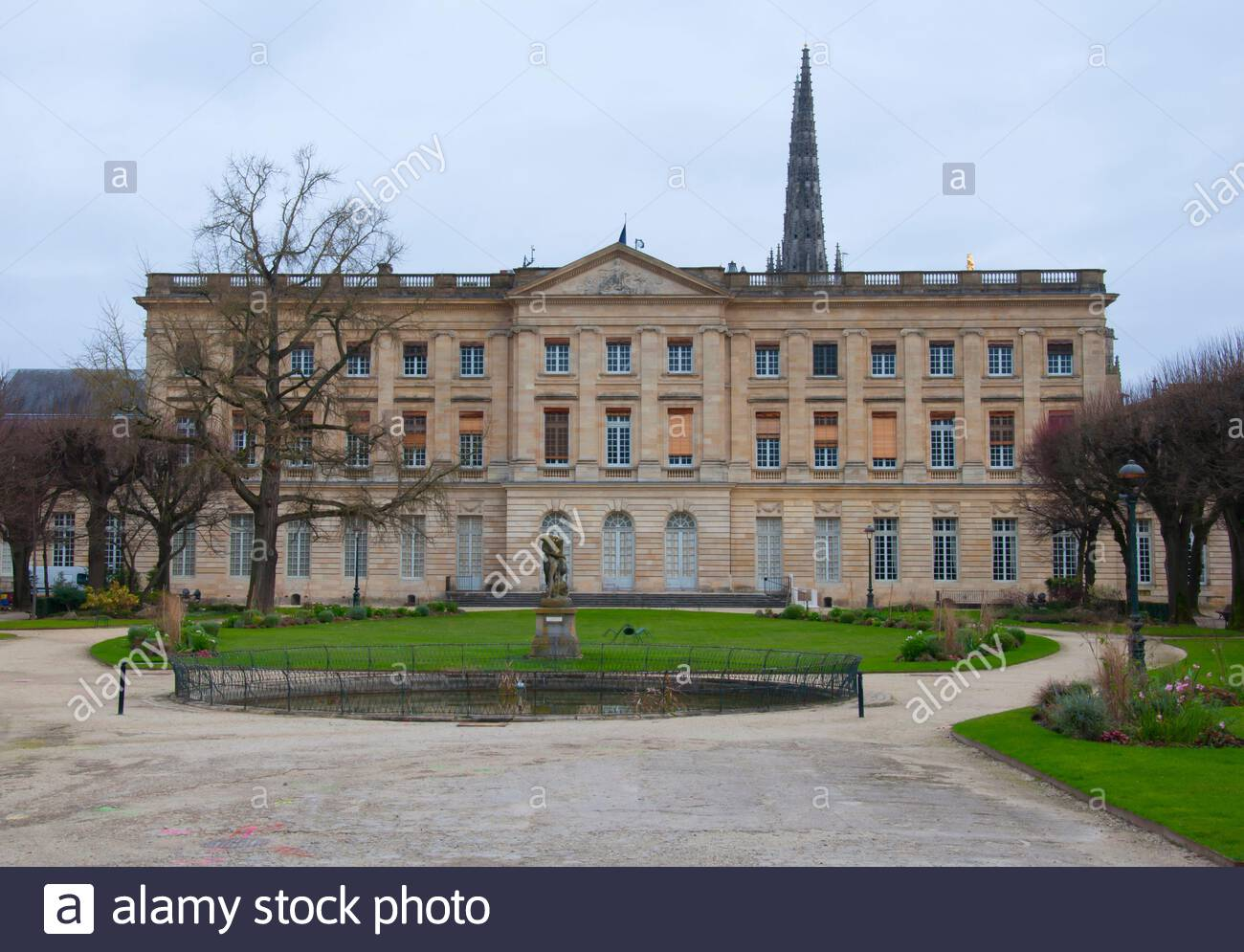 facade of big palace in jardin mairie garden of town hall winter day in bordeaux france 2BBHNB0