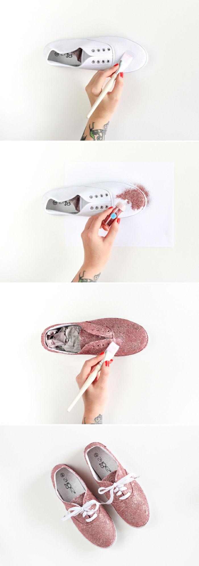 customiser ses chaussures colle decoupage et paillettes couleur rose id C3 A9e activite manuelle pour des adultes bricolage0facile