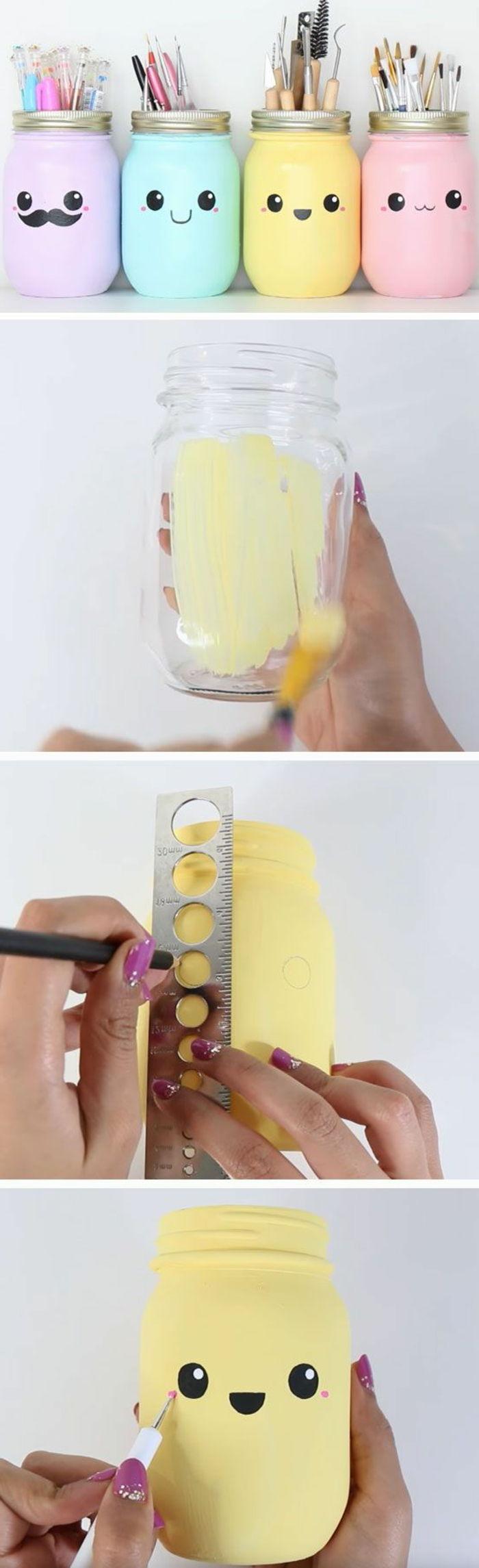 pot a crayon fabriqu C3 A9 C3 A0 partir de bocal en verre projet bricolage dessin petits bonhommes id C3 A9e activit C3 A9 manuelle adulte