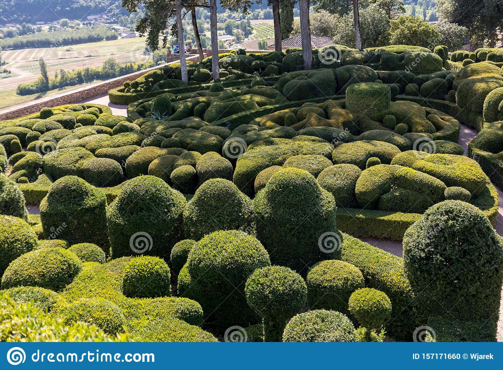 dordogne france september topiary gardens jardins de marqueyssac dordogne region france topiary