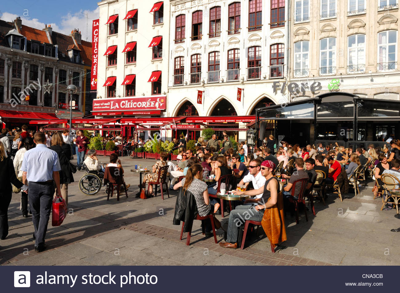 france nord lille walkers and outdoor cafes on the place rihour CNA3CB