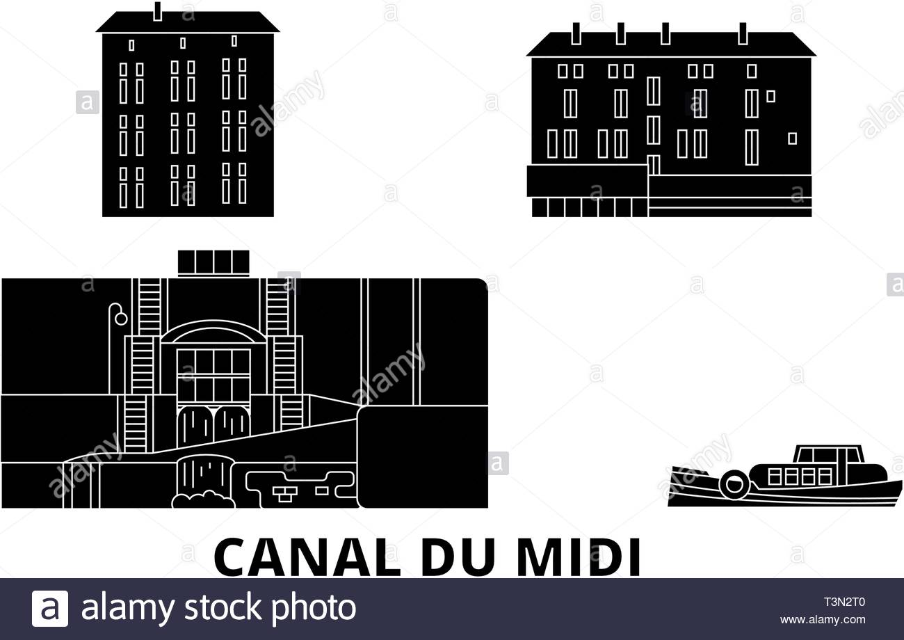 france canal du midi flat travel skyline set france canal du midi black city vector illustration symbol travel sights landmarks T3N2T0