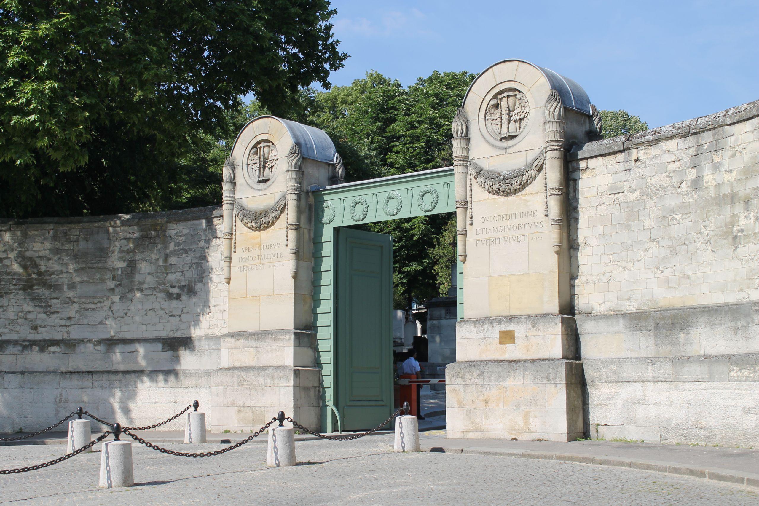 Main gate of the Père Lachaise Cemetery Paris 13 June 2014