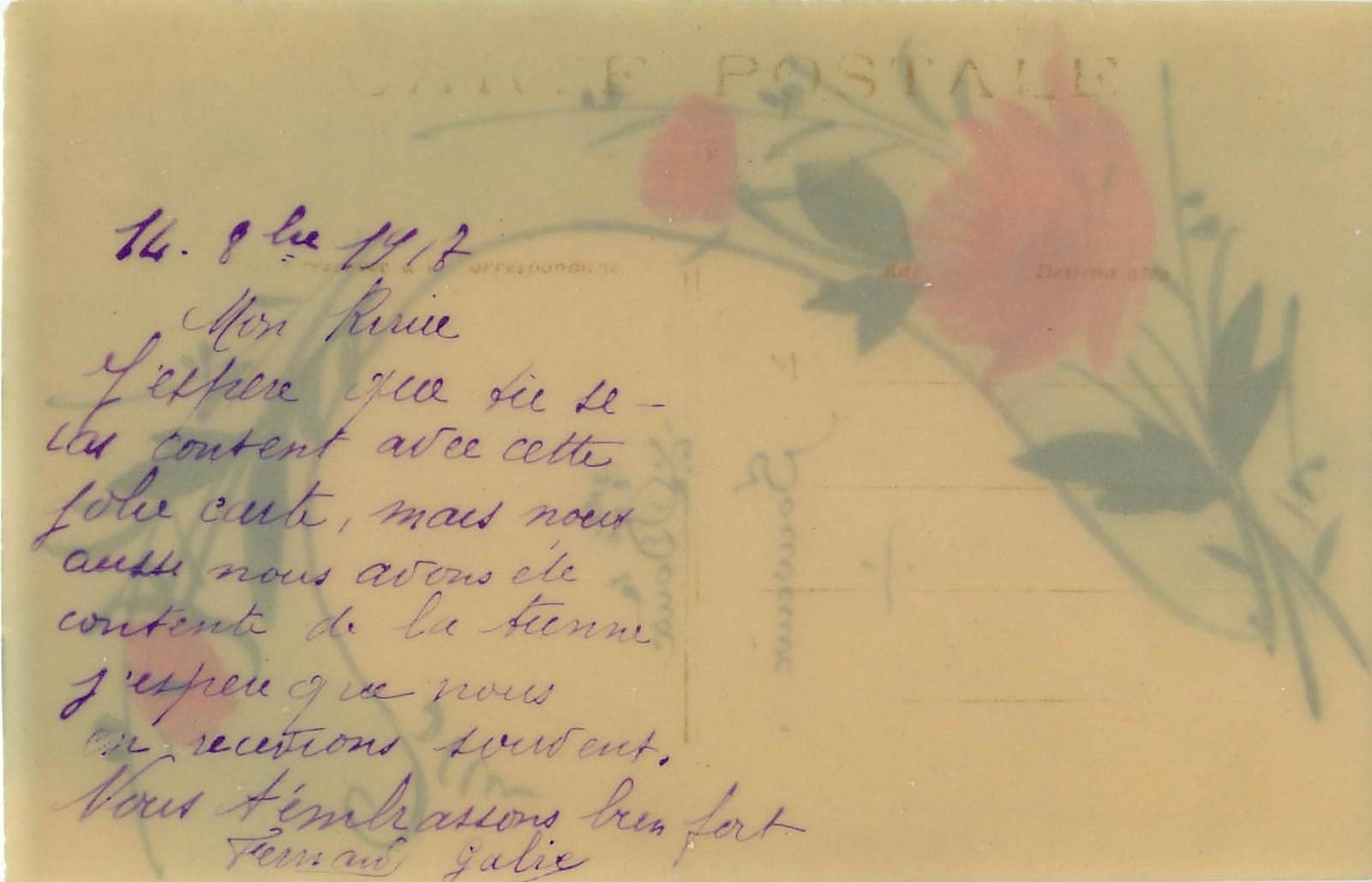 fleurs doux souvenir roses peintes a la main sur celluloid 1917
