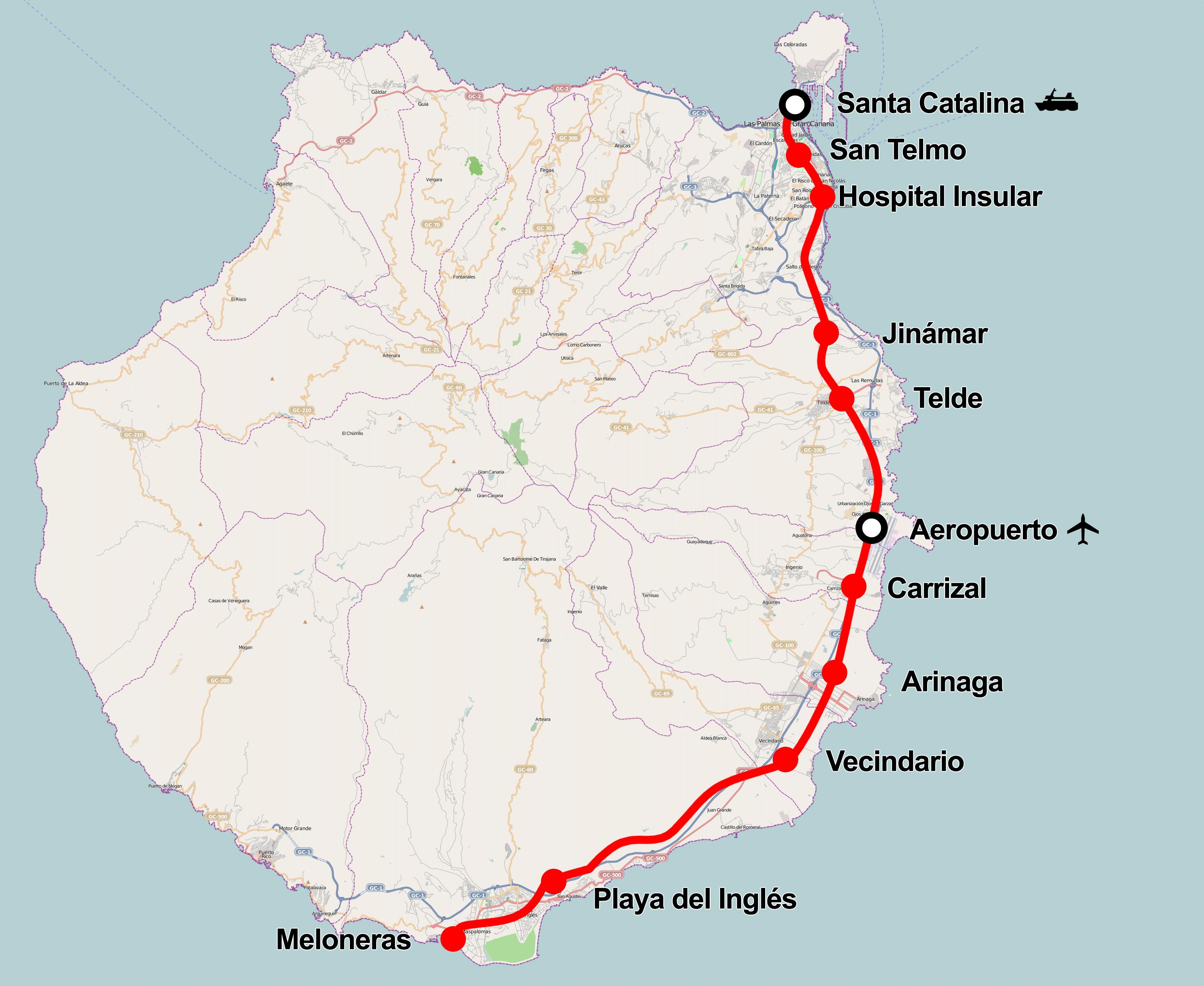 Tren de Gran Canaria map