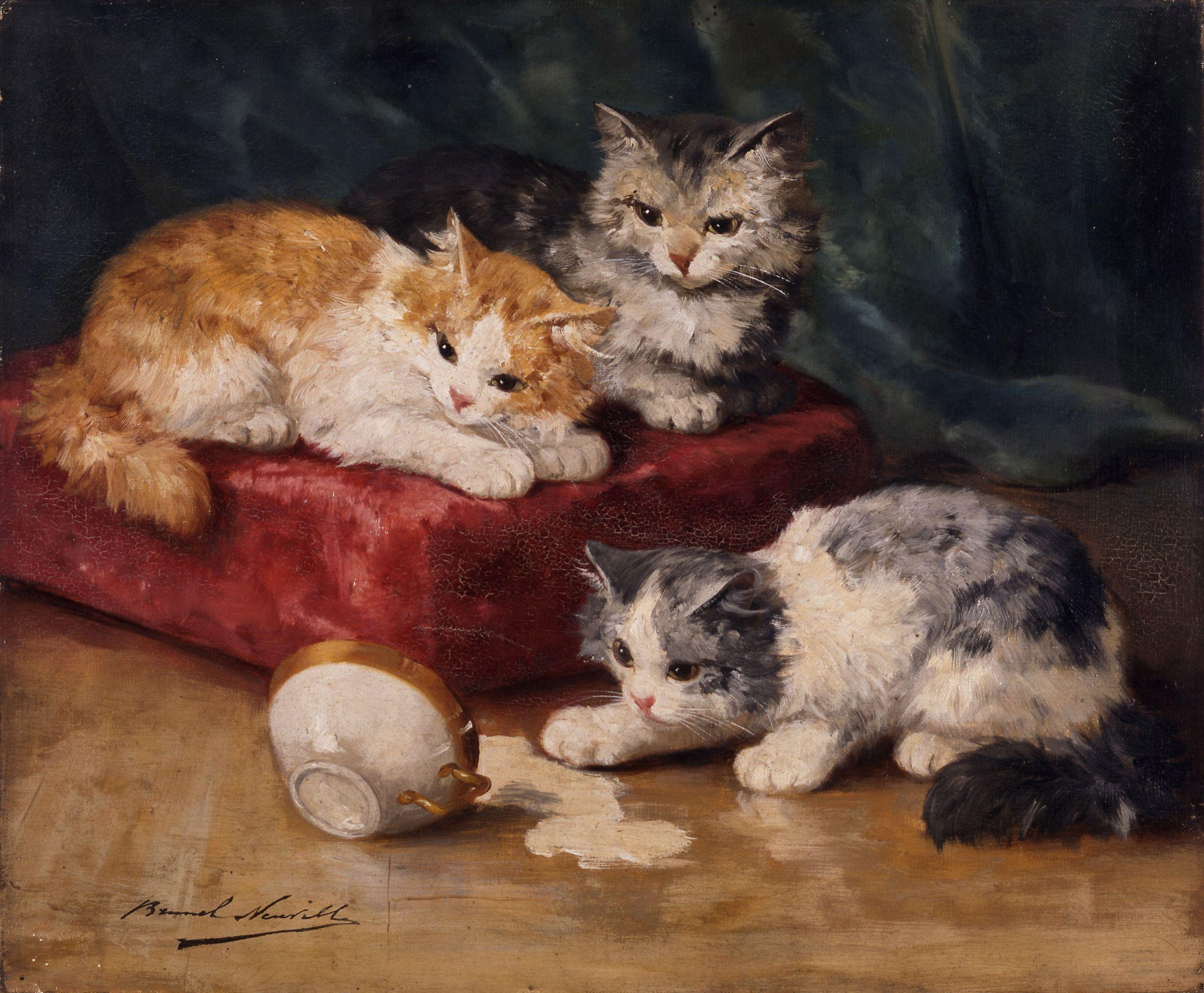 Les chats Alfred Arthur Brunel Neuville musée d art et d histoire de Saint Brieuc DOC 94b