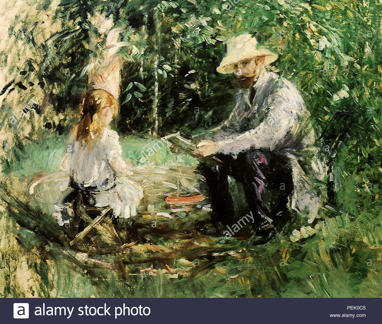 eugene manet and his daughter in the garden morisot berthe PEK0C5