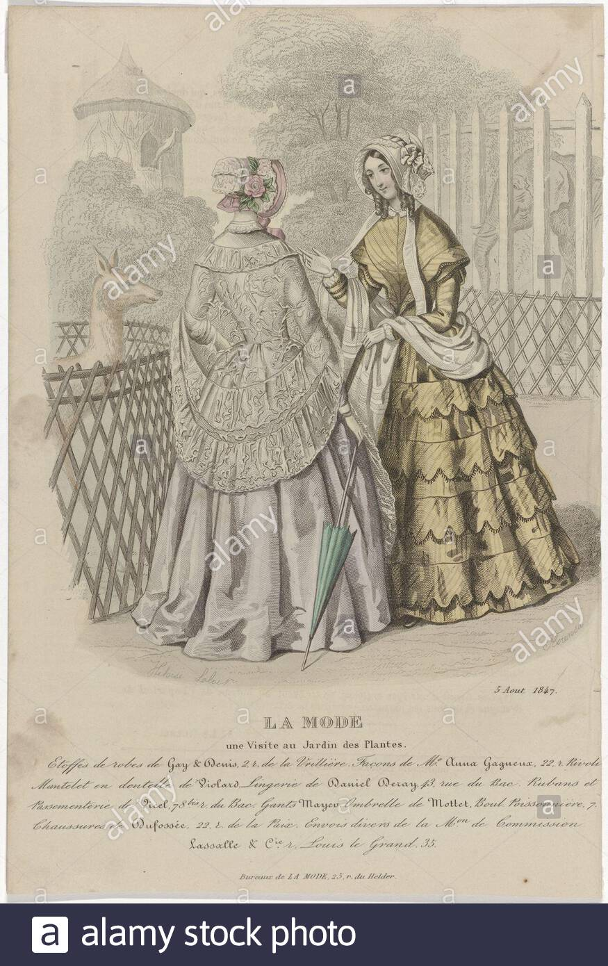 two women visit the botanical garden or zoo le jardin des plantes in paris according to the caption fabrics of dresses denis performed in the manner of anna gagueux mantelet small tippet in side violard here are some rules text advertising for various products print out the fashion magazine la mode 1829 1855 manufacturer printmaker florensa the closmenil listed property to drawing heloise leloir colin listed property place manufacture paris date 1847 physical features engra hand colored material paper technique engra printing process hand color measurement 2B
