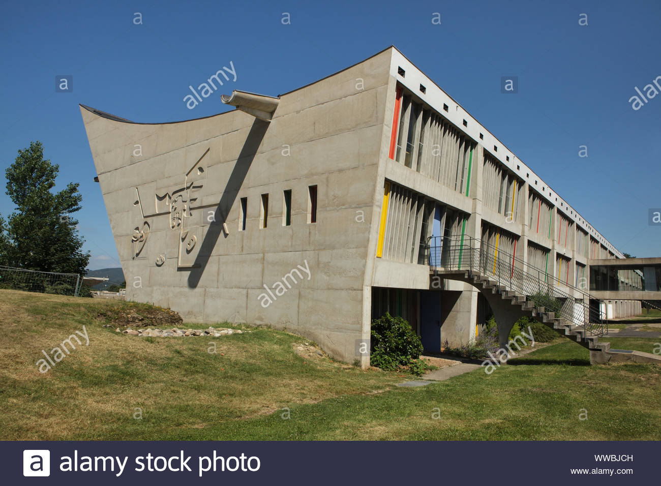 cultural centre maison de la culture de firminy vert designed by swiss modernist architect le corbusier 1965 in firminy near lyon france WWBJCH