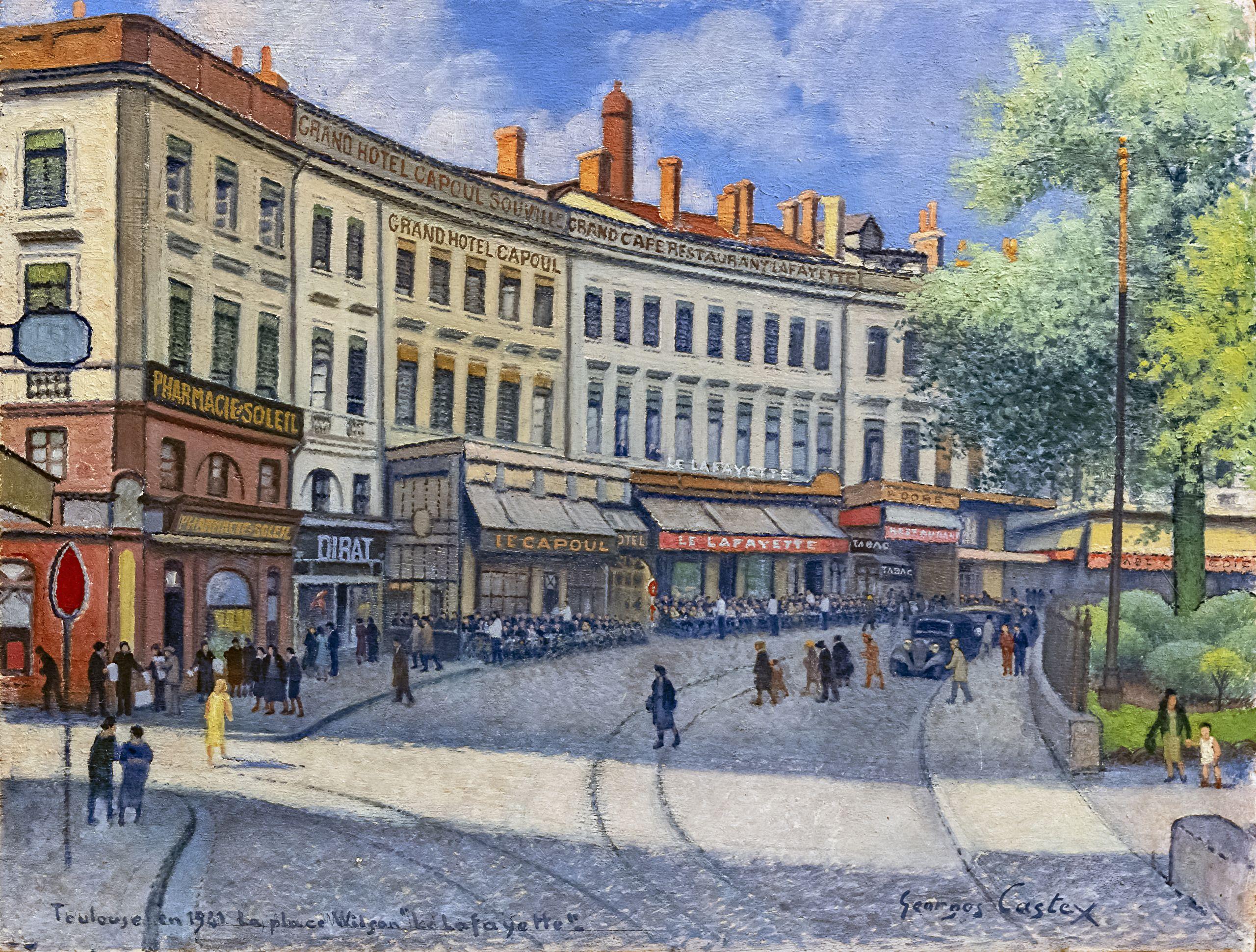 Musée du Vieux Toulouse La place Wilson le Lafayette Georges Castex Huile sur bois 1941 Inv 002 9 2