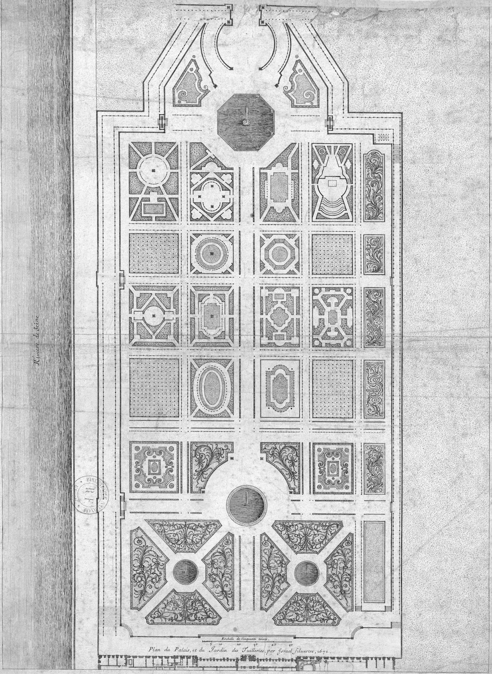 Plan du Jardin des Tuileries par Israel Silvestre 1671 Gallica 2011 adjusted