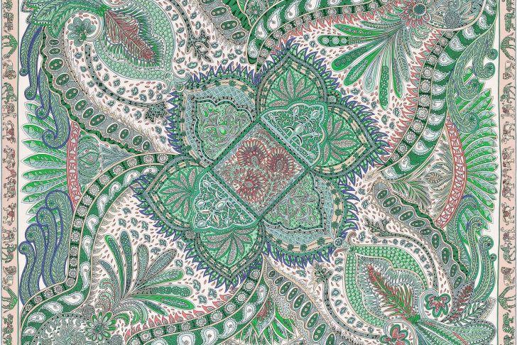 "Le Jardin Du Pic Vert Beau 55"" X 55"" Shawl Herm¨s Le Jardin De La Maharani"