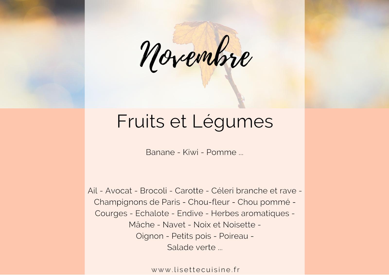 Fruit et légumes de saison novembre