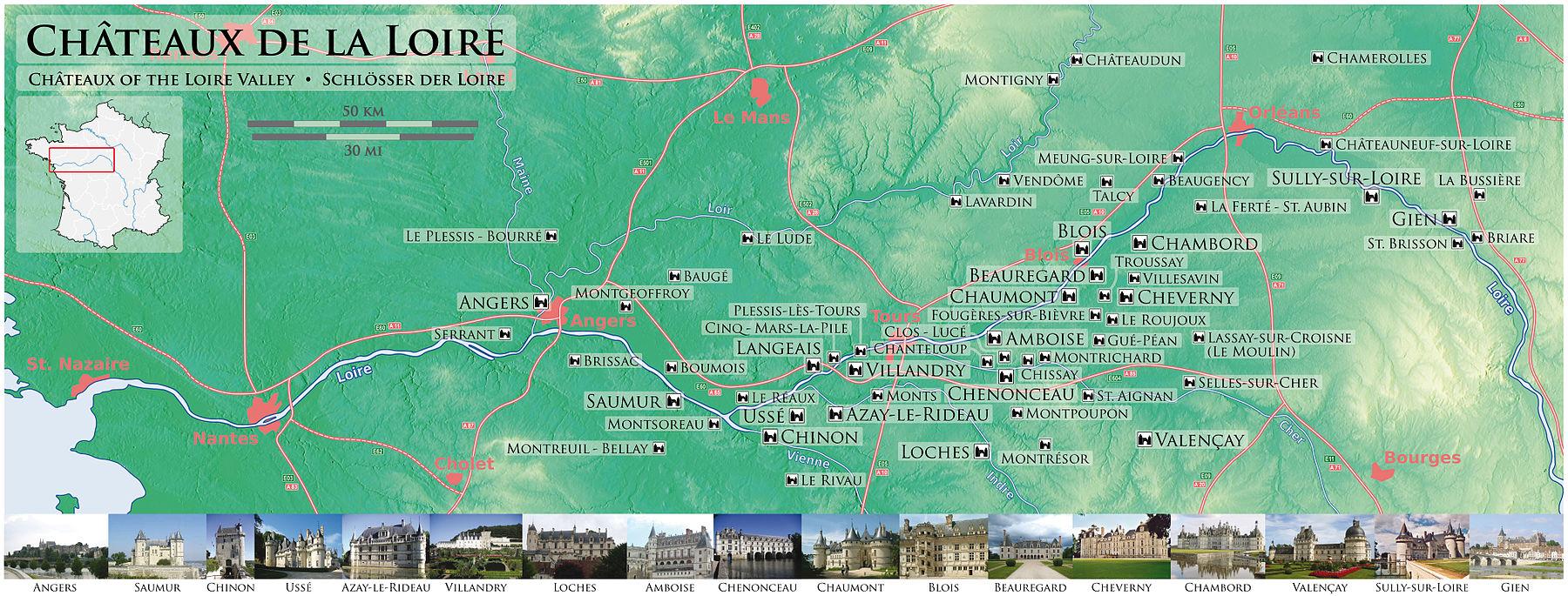 1800px Châteaux de la Loire Karte