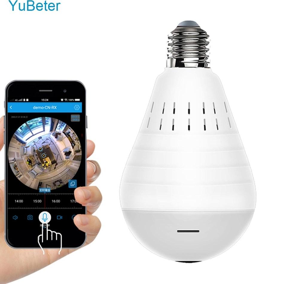 YuBeter 960P Wireless Panoramic Camera Bulb 360 Degree Fisheye Lens Home Security Video font b Surveillance