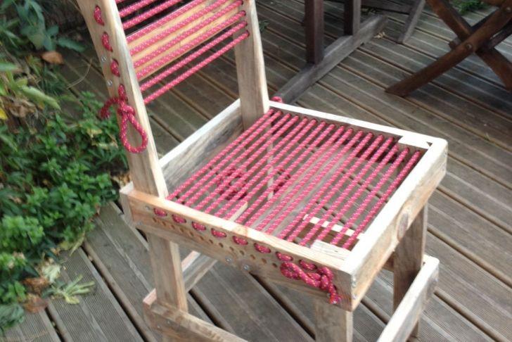 Meubles De Jardin En Palette Beau Chaise En Bois De Palette Et Corde D Escalade