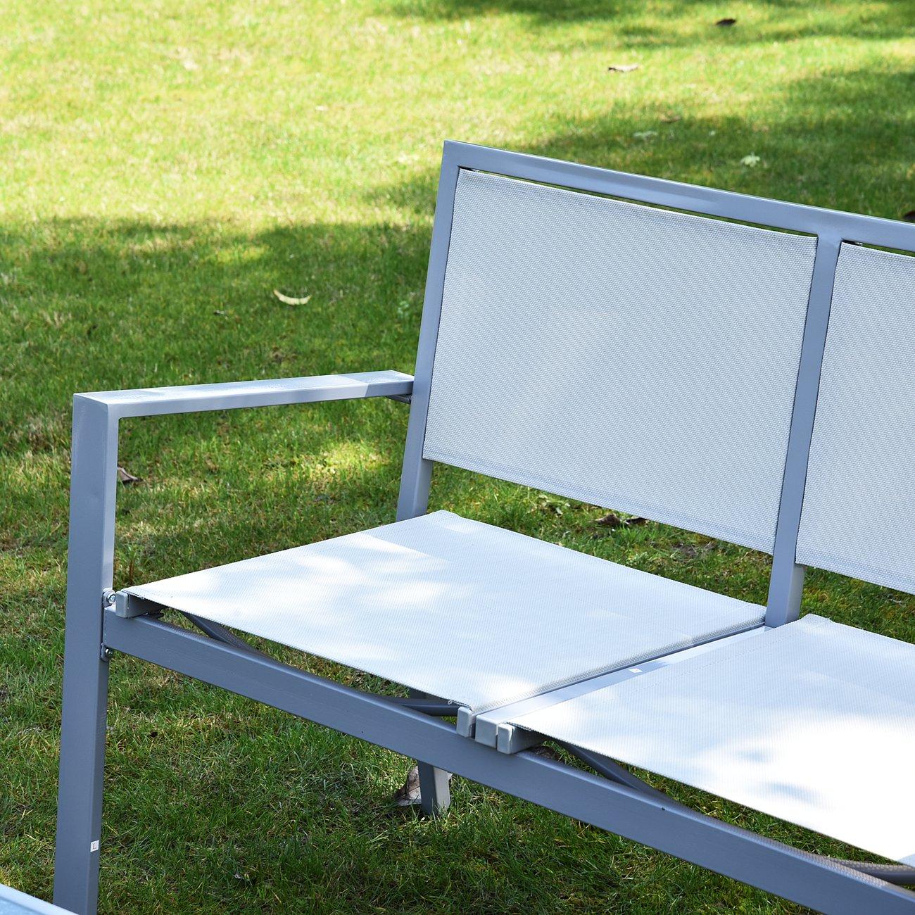 ensemble salon de jardin meuble de jardin 4 places en textilene 1 canape 2 fauteuils 1 table casse cadre en acier gris 6 v8