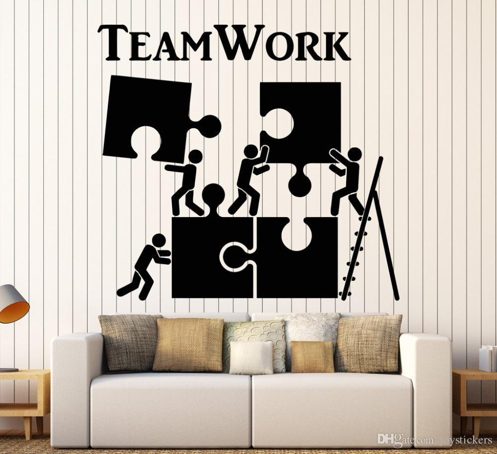 Modele Jardin Luxe Acheter Vinyle Decal Sticker Teamwork Motivation Décor Pour Employé De Bureau Puzzle Stickers Muraux Moderne Intérieur Art Décoration Murale Chaude De