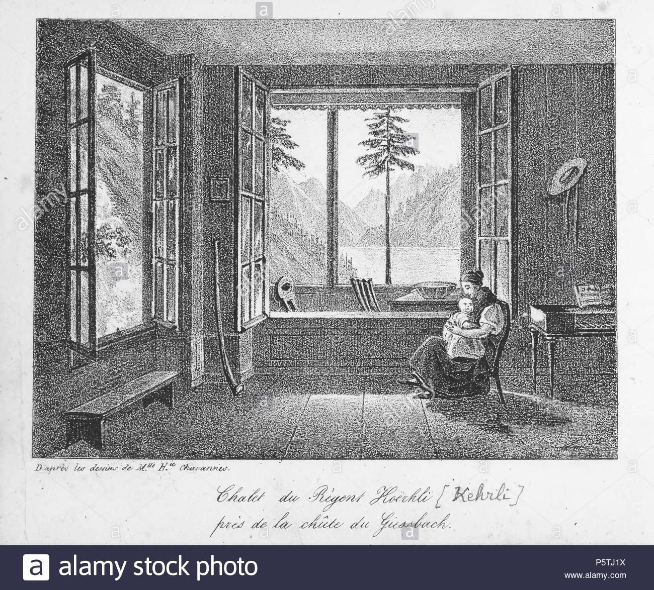 na franais livre la suisse en miniature 100 vues lithographies chalet du rgent korhli prs de la chte du giessbach 1831 chavannes herminie 318 ch nb la suisse en miniature page054 P5TJ1X