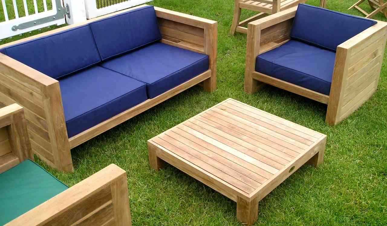 salon de jardin pas cher bleu bois canape sympa design