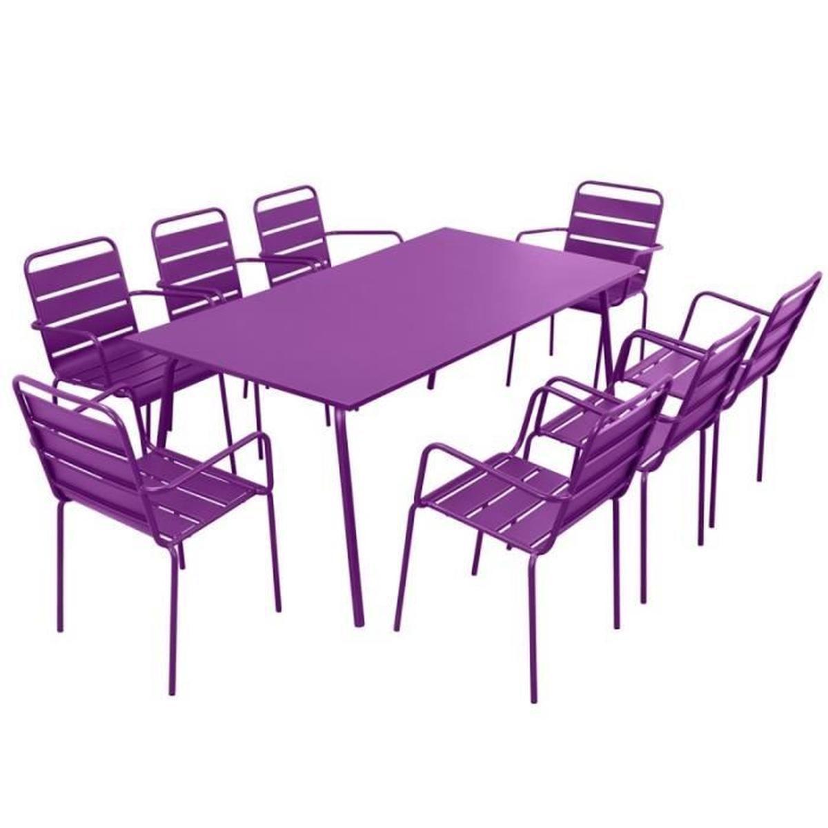table de jardin 8 personnes et 8 chaises prune p